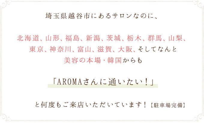 埼玉県越谷市にあるサロンなのに全国各地からご来店いただいています